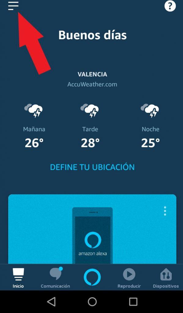 alexa app menu